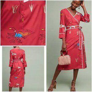 Rachel Antonoff Wrap Dress Ducks Midi Red XXL